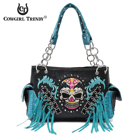 Western Handbag Biker Skull Whipstitch Fringed Concealed Carry Satchel Shoulder Bag