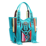 Western Handbag - Fringed Multi-colored Serape Top Handle Satchel Bag