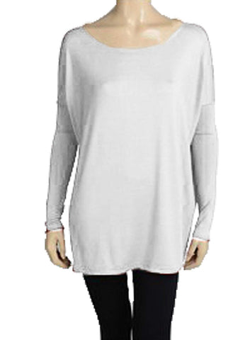 Piko Women's Famous Long Sleeve Bamboo Top Loose Fit Dolman Style,Medium,White