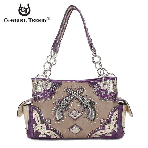 Western Handbag Metal Double Guns Concealed Carry Satchel Shoulder Bag