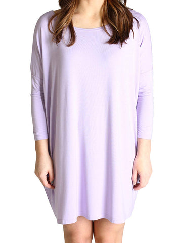 Piko Women's Famous 3/4 Sleeve Bamboo Top Loose Fit, Lilac Tunic