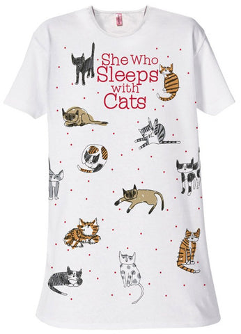 She-Who-Sleeps-with-Cats-Sleep-Shirt-White-B004NM93WW
