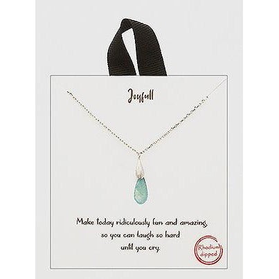 18k Rhodium Dipped 3d Morning Dew Drop Delicate Necklace 170-BJNA049-RH