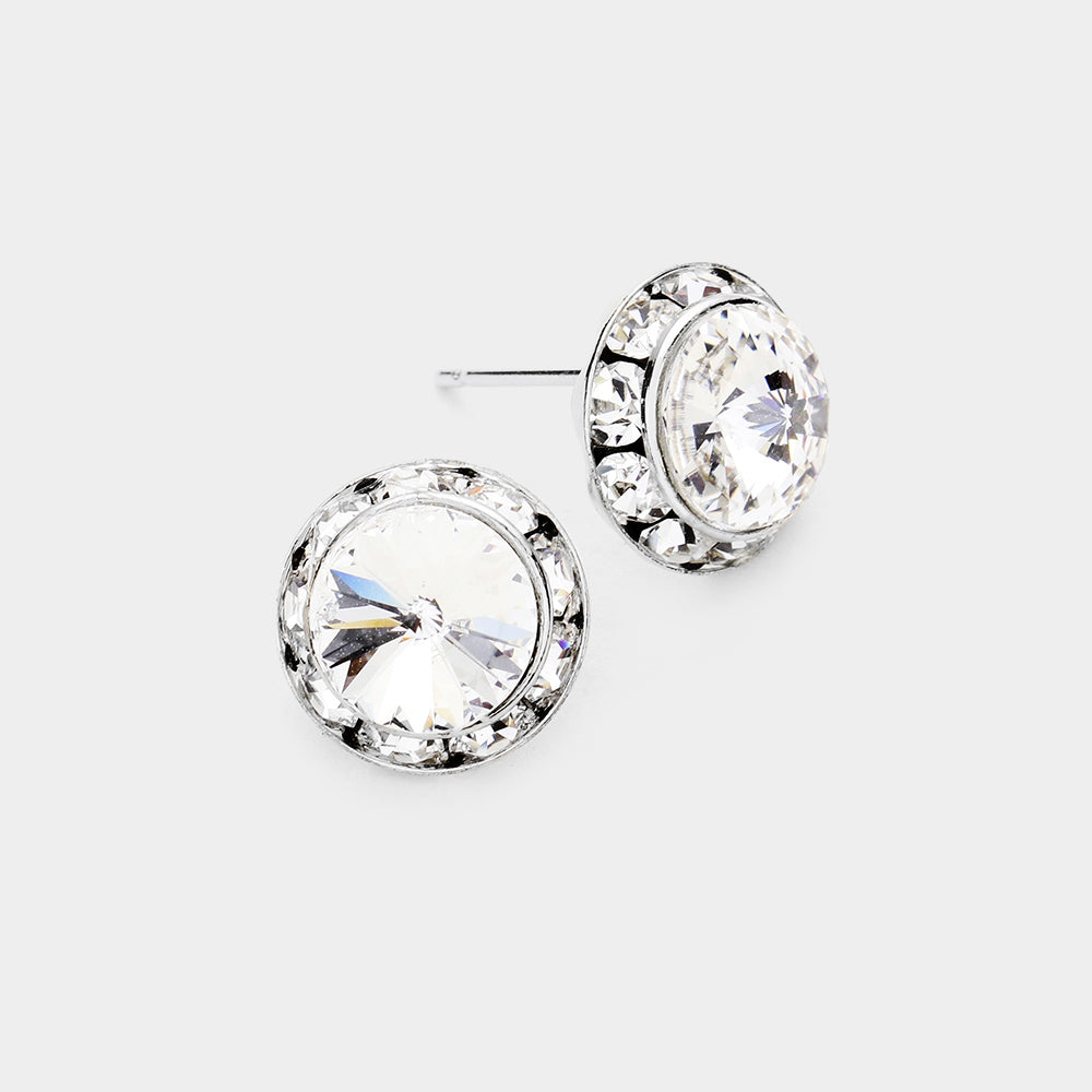 Australian Crystal Round Stud Earring Clear