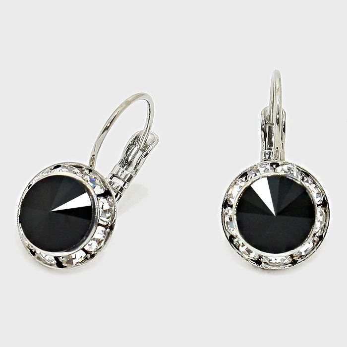 Australian Crystal Round Drop Earring Black