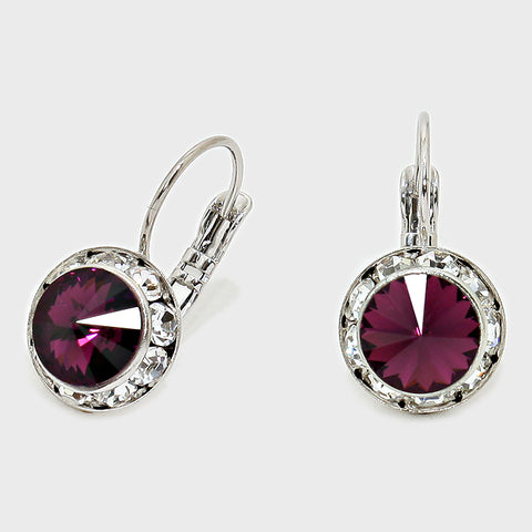 Austrian Crystal Lever back Earrings CRE 11390 09 Amethyst