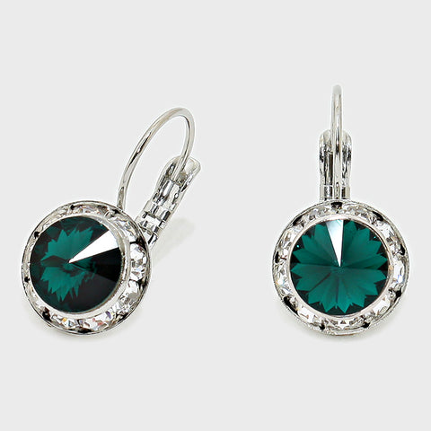 Austrian Crystal Lever back Earrings CRE QQ390 13 Emerald