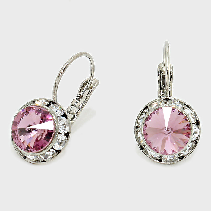 Australian Crystal Round Drop Earring Amythest
