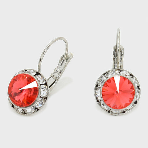 "Austrian Crystal Lever back Earrings CRE11390-23-PADPARADSCHA-1/2""W"