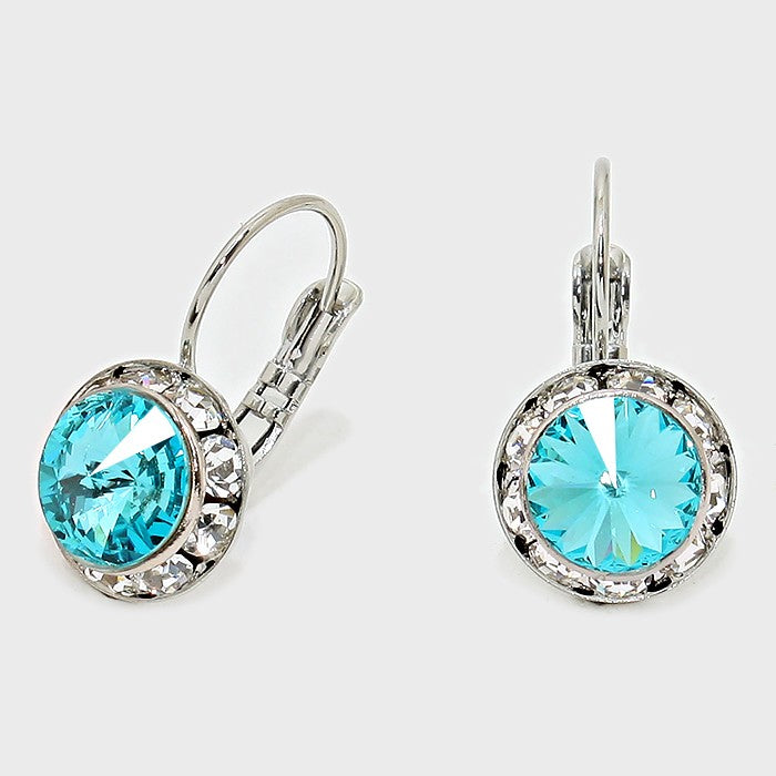 Australian Crystal Round Drop Earring Turquoise