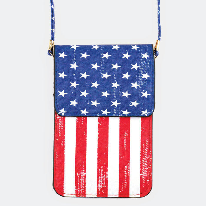 American Flag Pattern Touch View Cell Phone Crossbody Bag FSB0085