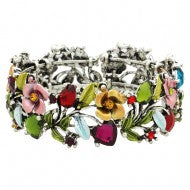 Flower Cuff Multi Colored Crystal Bracelet