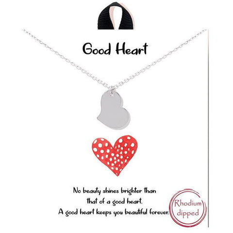 """Good Heart"" Heart Sideways Necklace"