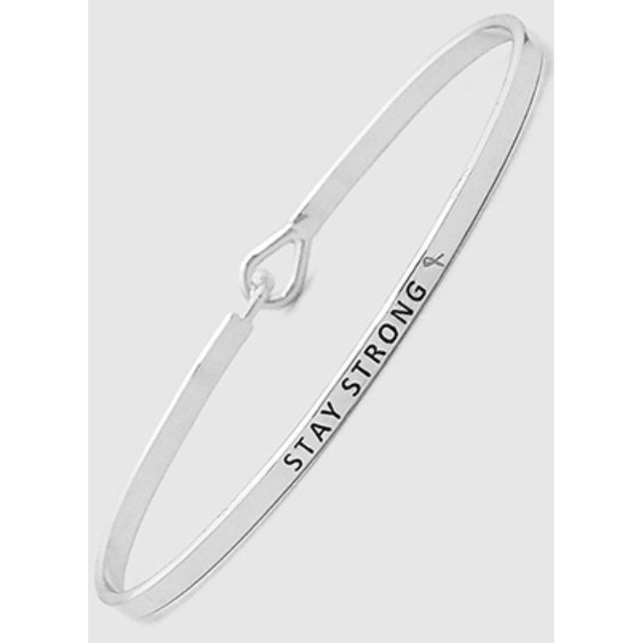 Stay Strong Thin Metal Hook Bracelet