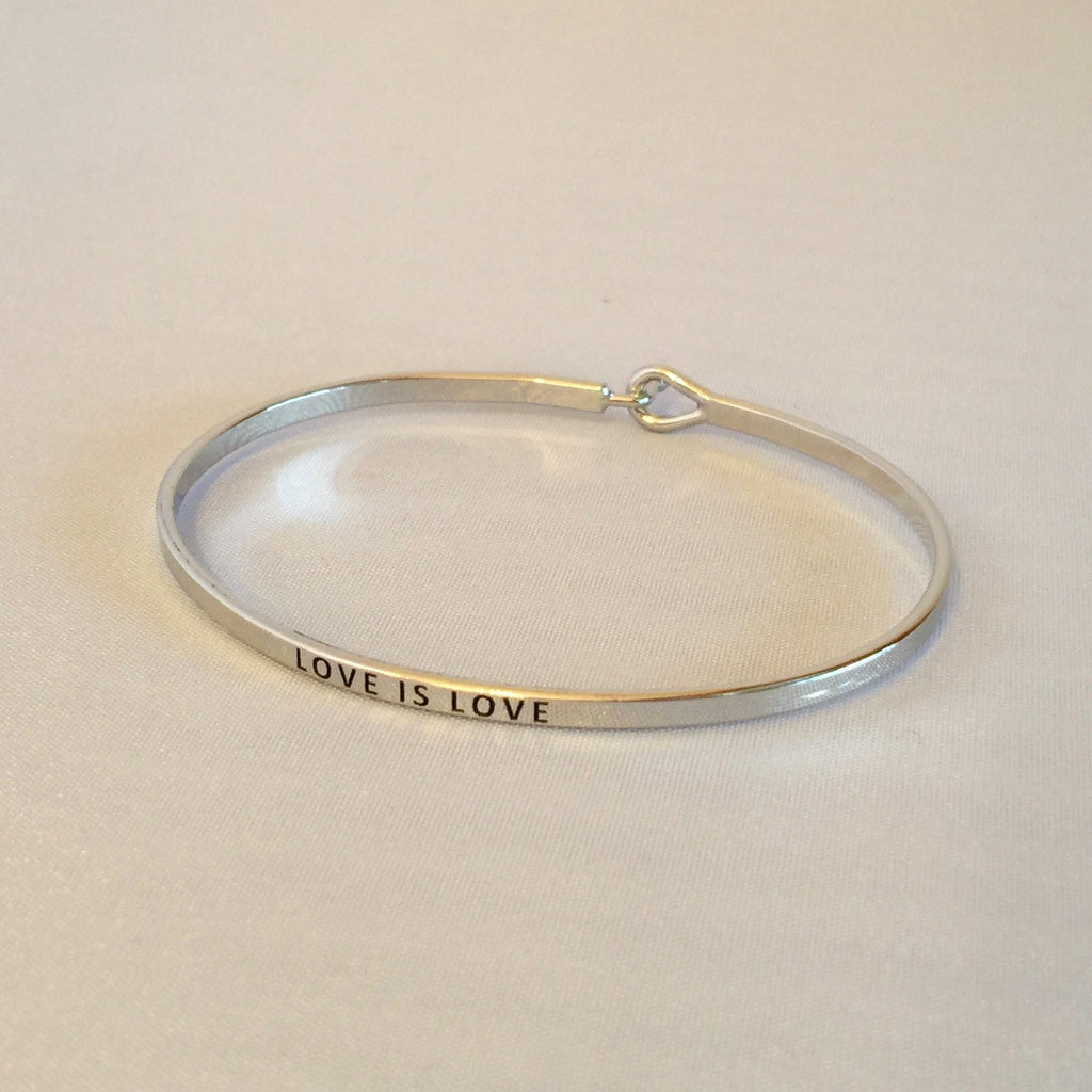 Love Is Love Rhodium Metal Mantra Bracelet