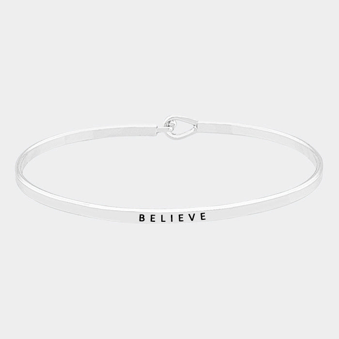"""Believe"" Brass Thin Metal Hook Bracelet MSB4179-RH-BELIEVE"