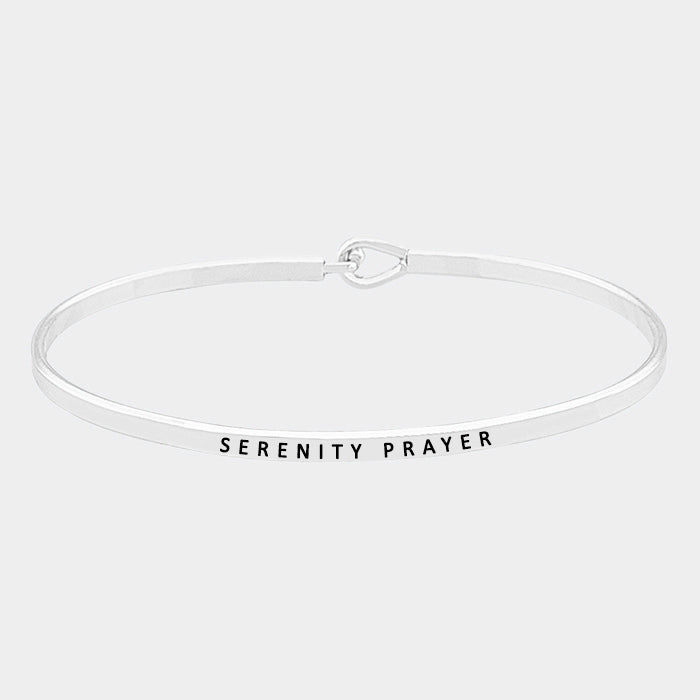 """Serenity Prayer"" Brass Thin Metal Hook Bracelet MSB4330-RH-SERENITY"