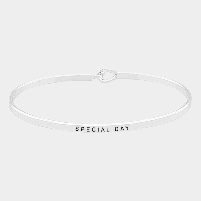 """Special Day"" Brass Thin Metal Hook Bracelet"