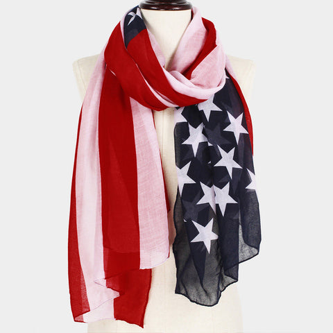 American Flag Print Scarf S9418-US