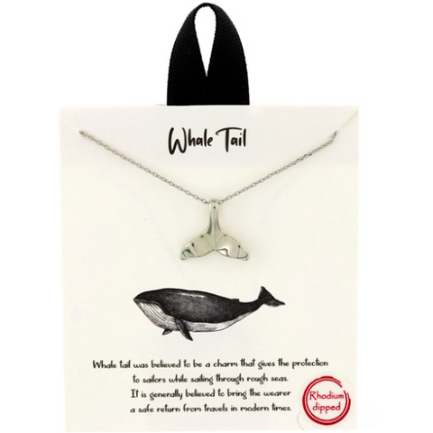 Whale Tail Pendant Delicate Necklace Silver