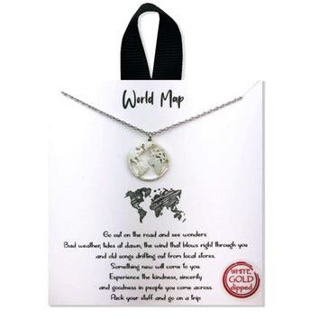 World Map Positive Message Necklace