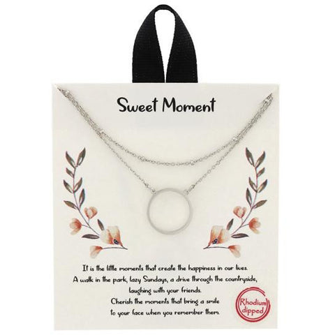 Stainless Steel Sweet Moments Pendant Necklace - 580996