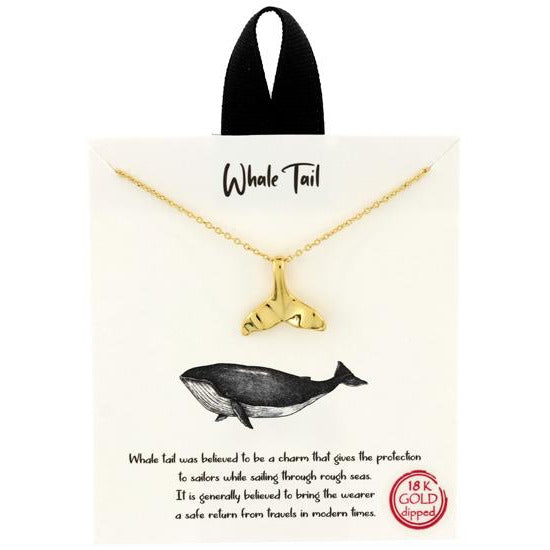 Whale Tail Pendant Necklace 18K Gold Dipped Gold-Tone