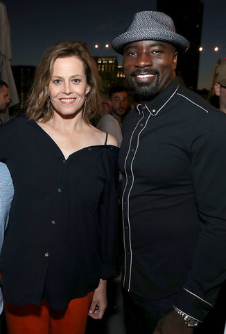 Actors Sigourney Weaver (L) and Mike Colter attend the Entertainment Weekly and Marvel After Dark event at the EW Studio during Comic-Con at Hard Rock Hotel