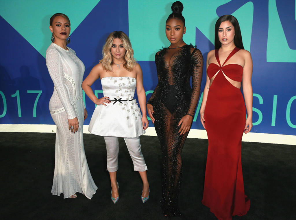 FIFTH HARMONY Dinah Jane (wearing Roberto Cavalli with Lorraine Schwartz jewels and Paul Andrew shoes), Ally Brooke (wearing Reem Acra dress, Borigioni jewelry and Casadie shoes), Normani Kordei (wearing Labourjoisie dress, Brian Atwood shoes and Lorraine Schwartz jewels) and Lauren Jauregui (wearing Cushnie et Ochs, Niel Lane Jewels and Casadei shoes) go glam on the red carpet.