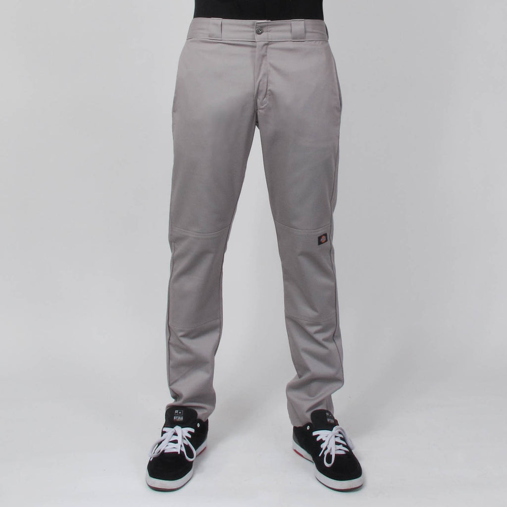 Dickies Calça Skinny Straight Fit Double Knee Masculina - Cinza