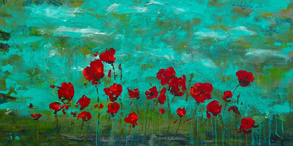 Poppies: GICLEE print on canvas, Fully Embellished