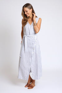 The Nella Wrap Dress - Navy Stripe