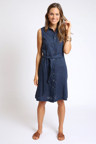 The Bella A-Line Shirt Dress  - Navy