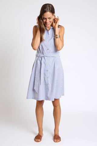 The Bella A-Line Shirt Dress - Chambray Stripe