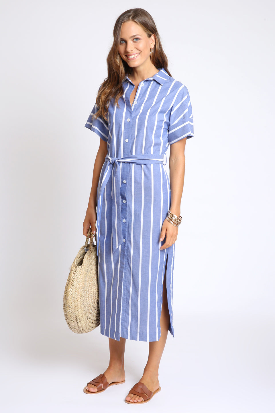The Bella Shirt Dress - Chambray Stripe