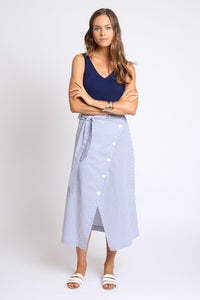 The Laila Wrap Skirt - Chambray Stripe