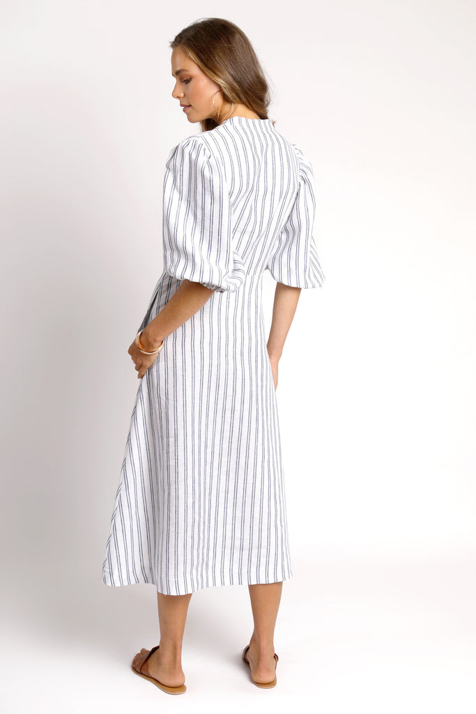The Grace Dress - Navy Stripe