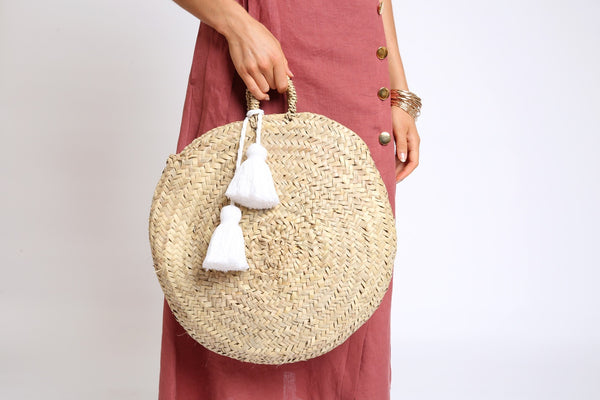 The Sally Round Basket - White