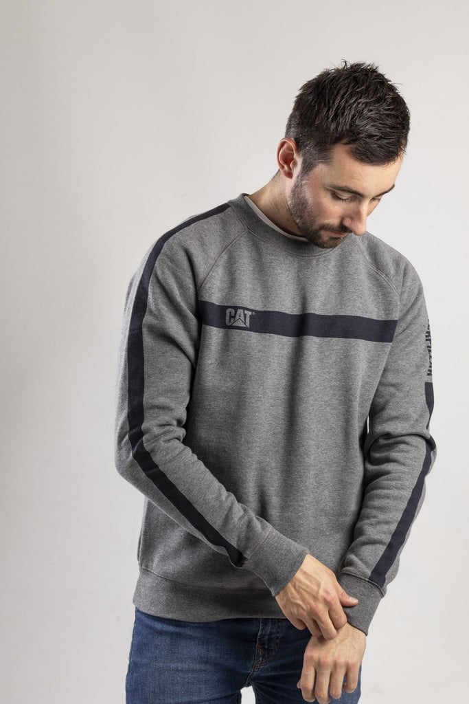 Icon Stripe Crew Neck Sweater  Dark Heather