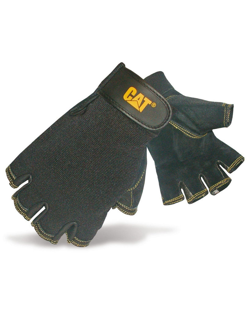 Leather Fingerless Gloves  Black