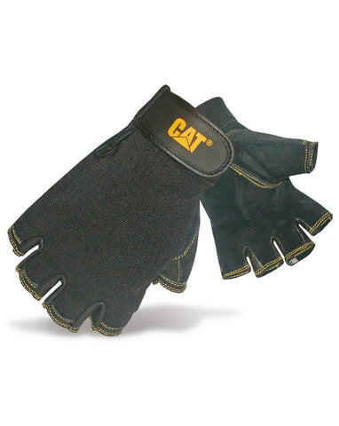 Black Leather Fingerless Gloves
