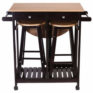 3PC Wood Kitchen Rolling Cart Set Dining