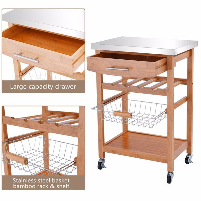 Bamboo Rolling Kitchen Trolley Storage