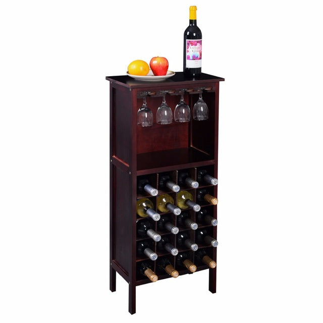 Wood Wine Cabinet Retro Burgundy 20 Bottles