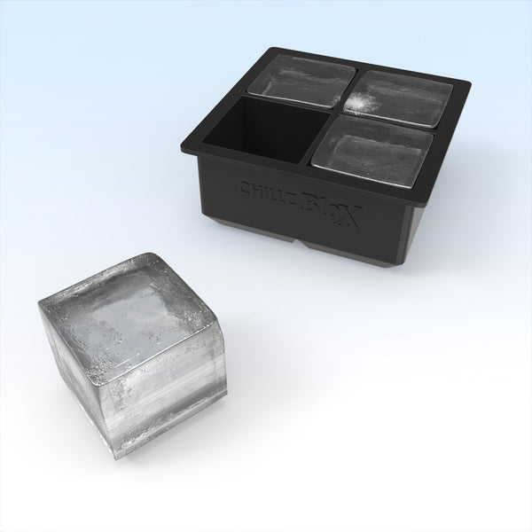 Chillz Blox Large Ice Cube Trays - Molds 4 X 2 Inch Ice Cubes (2 Pack)