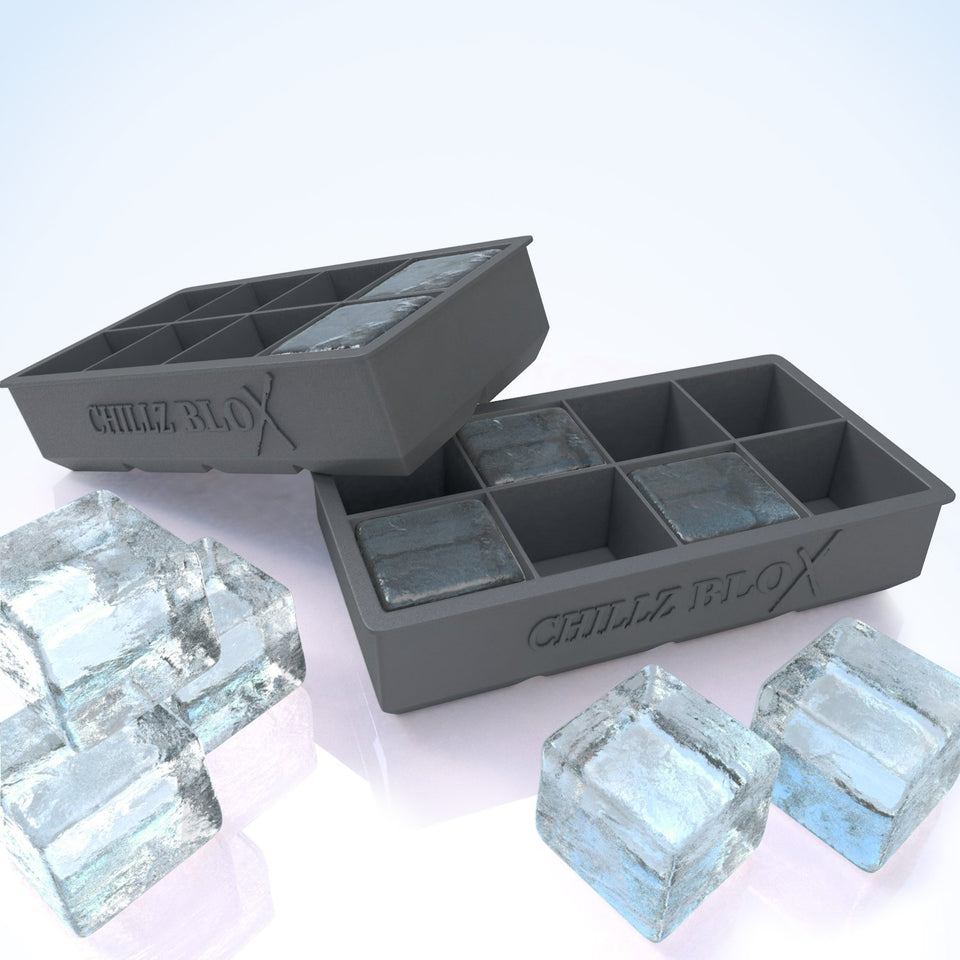 Chillz Blox Large Ice Cube Tray - Molds 8 X 2 Inch Ice Cubes (2 Pack)