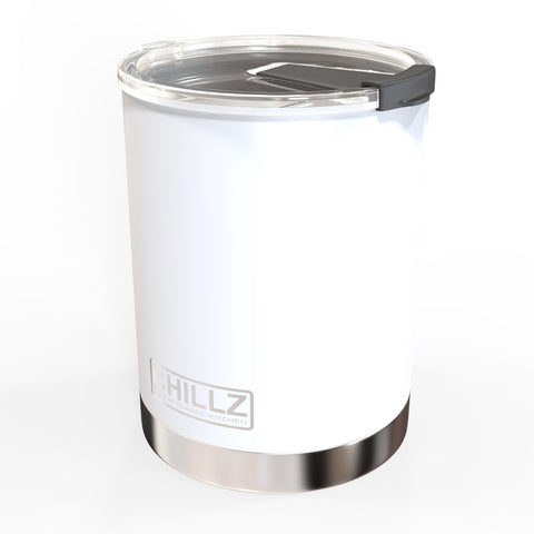 Chillz Stainless Steel Vacuum Insulated Tumbler with Spill Proof Lid - 10 oz - White