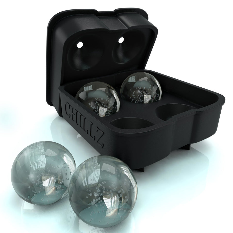 Chillz Ice Ball Maker - Molds 4 X 4.5cm Round Ice Ball Spheres