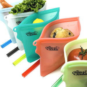 The Classic Kitchen Reusable Silicone Food Storage Bags - 5 Large 1L Bags