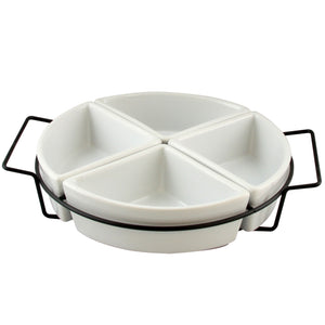 Fine Ceramic Dining Four Section Tray Set with Metal Rack in White